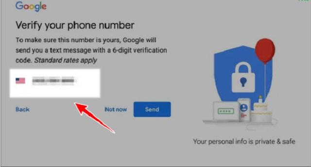 Bước 7: tùy chọn một số điện thoại cho tài khoản