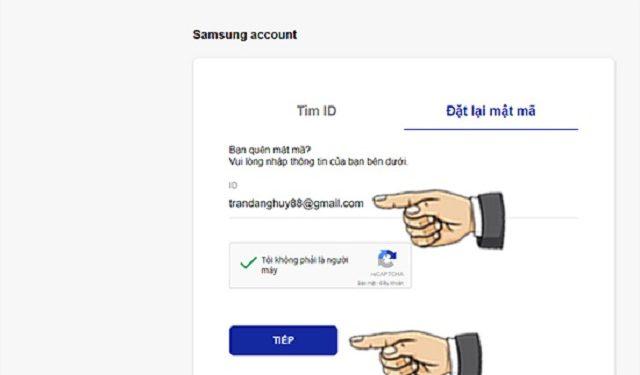 Bước 5: nhập địa chỉ email