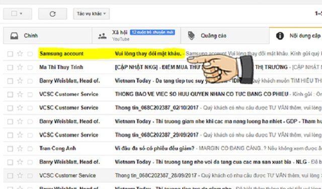 Bước 7: vào kiểm tra email được gửi bởi Samsung
